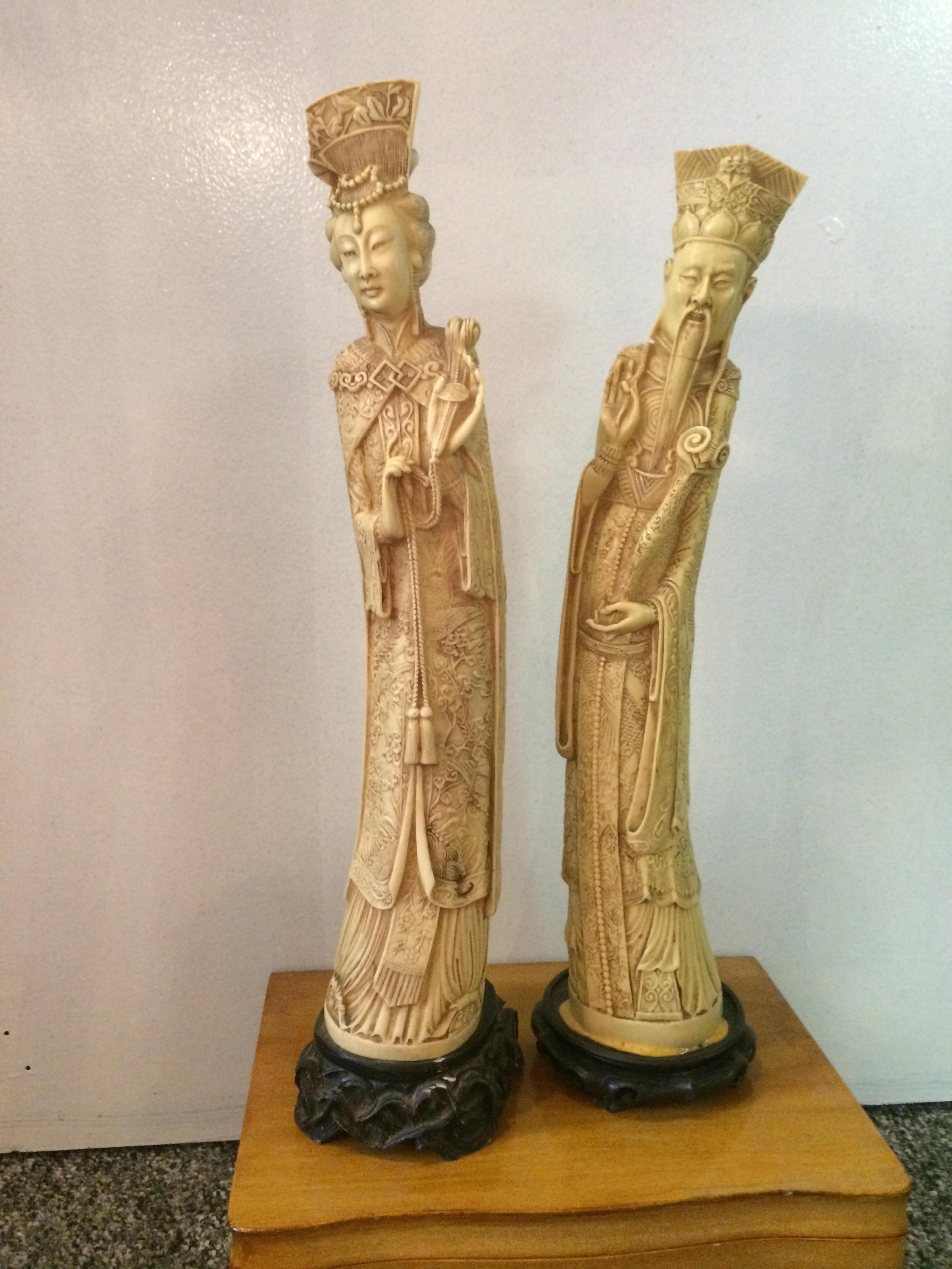 Pair Antique Chinese Statues