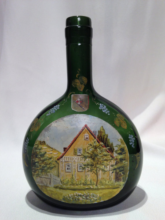 Vintage hand painted bottle