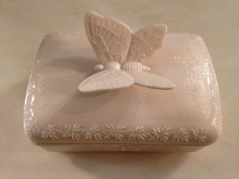 Butterfly Pink Glass Trinket Box