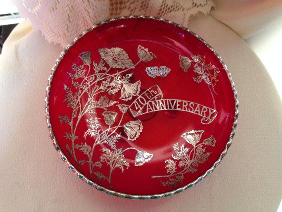 40th Anniv Ruby Glass Candy Dish