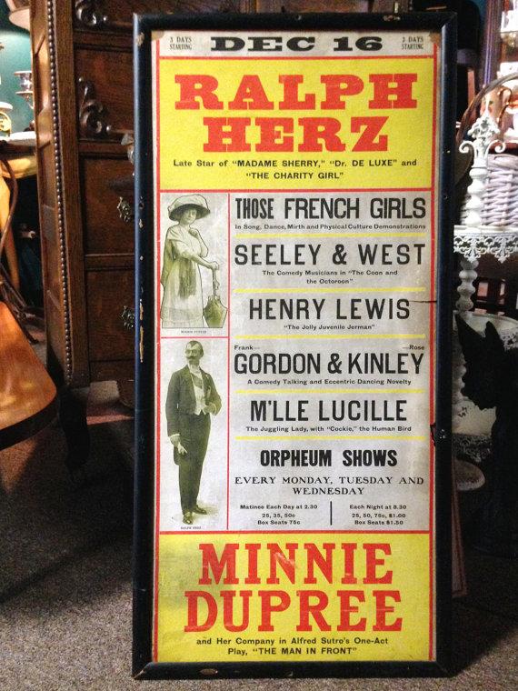 1912 Vaudeville Ad Poster