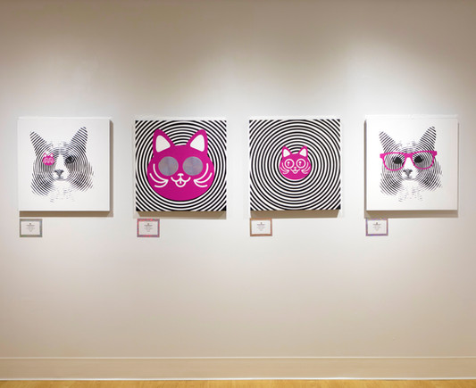 Photo of Big Cat 01, 03, 04, and Little Cat 01 on Wall