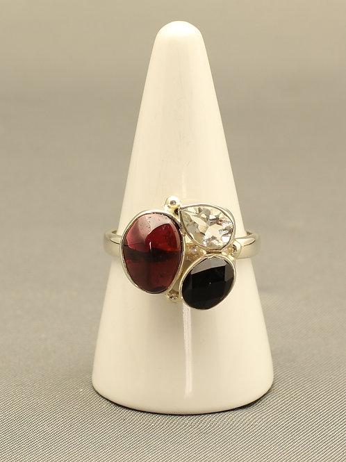 Garnet, Quartz and Tourmaline Ring