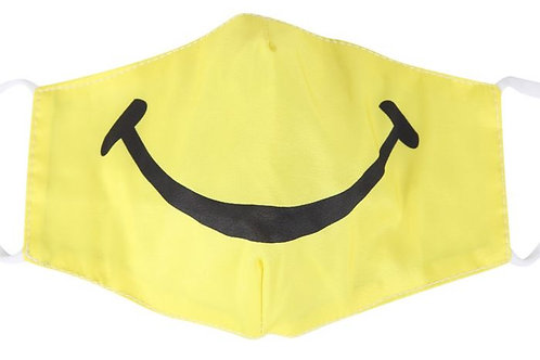 100% Cotton Smiley Reusable Adult Face Covering with Filter Pou