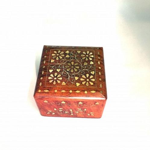 Brass Inlaid Wooden Box