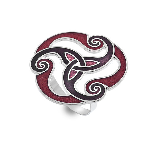 Red Enamel Celtic Spiral Scarf Ring