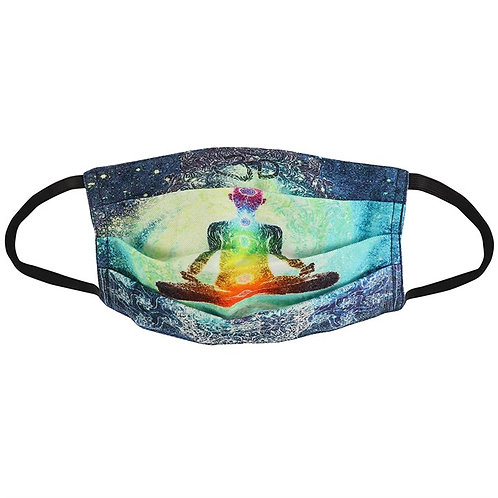 100% Cotton Seven Chakras Reusable Adult Face Covering with Filter Po
