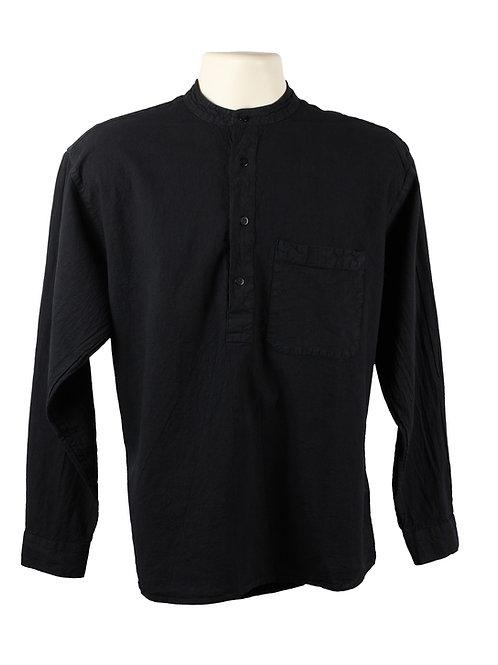 Black Collarless Grandad Shirt