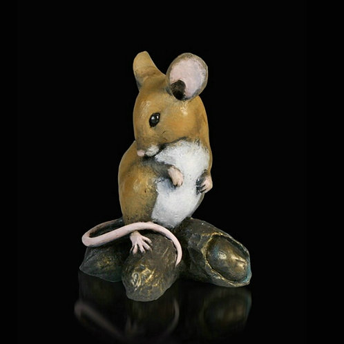 Mouse with Monkey Nuts Bronze Figurine
