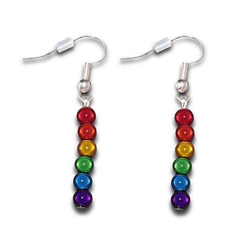 Tiny Rainbow Holographic Drop Earrings