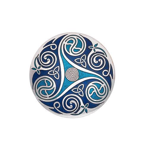 Blue Enamel Celtic Spiral & Knot Brooch
