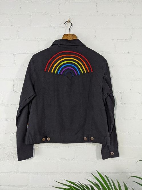 Black/Rainbow Jean Jacket - 100% Cotton