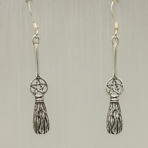 Bessom Broom and  Pentacle Earrings