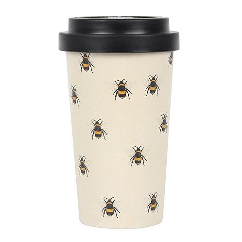 Bee Print Bamboo Travel Mug