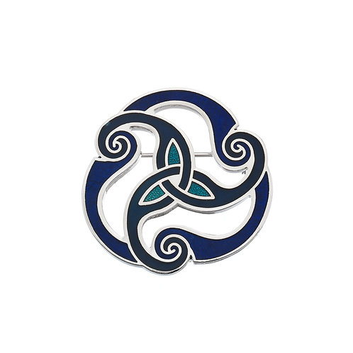 Blue Enamel Celtic Spiral Brooch
