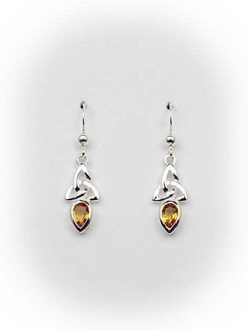 November - Citrine Celtic Earrings