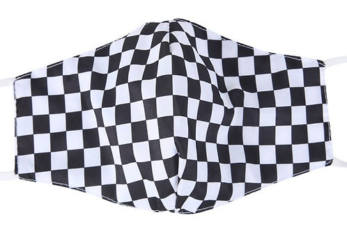 100% Cotton Checked Reusable Adult Face Covering with Filter Pou