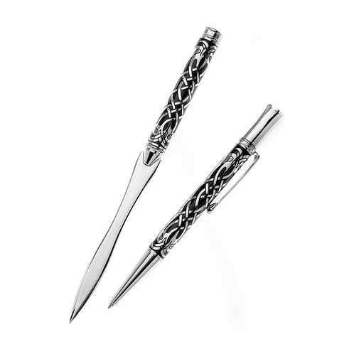 Celtic etched Bird Design Pen & Letter opener set