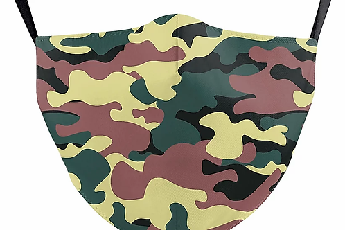 Camo Reusable Adult Face Covering with Filter Pouch