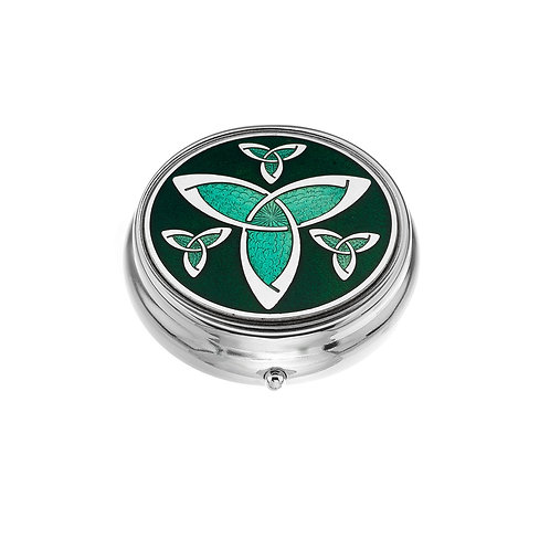 Large Celtic Knot Green Enamel Pillbox