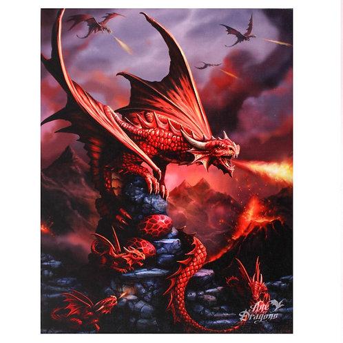 Fire Dragon Canvas Plaque