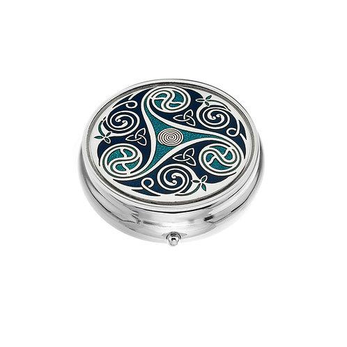 Large Celtic Spiral Knot Blue Enamel Pillbox