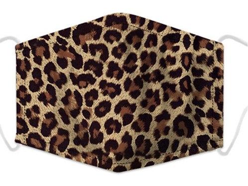 100% Cotton Leopard Print Reusable Adult Face Covering with Filter Pou
