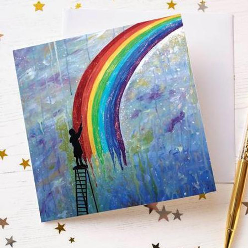 """Paint Rainbows"" Greetings Card"