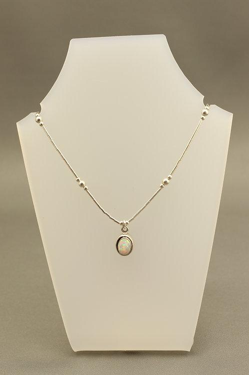 Opal Liquid Silver Necklace