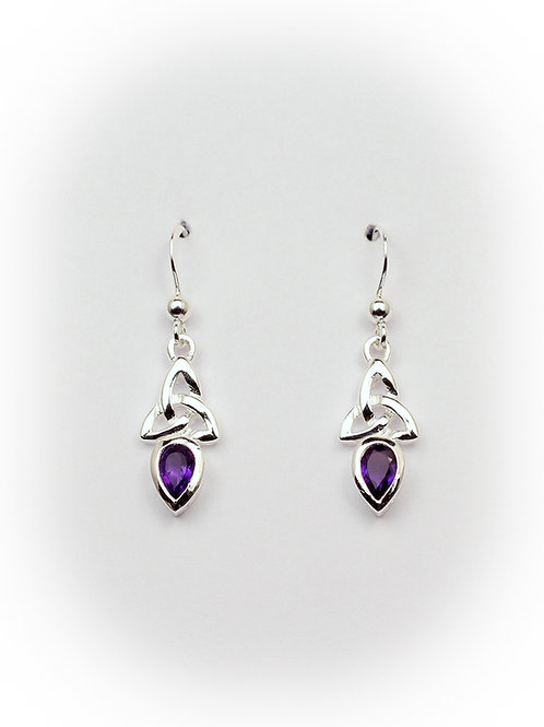 February - Amethyst Celtic Earrings