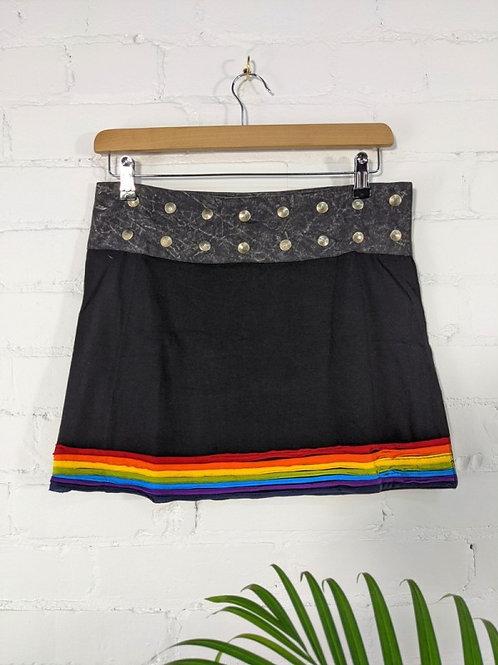 Black/Rainbow Short Popper Skirt - 100% Cotton
