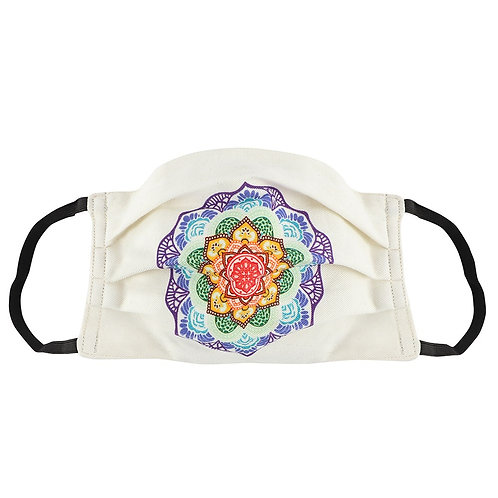 100% Cotton Lotus Mandala Reusable Adult Face Covering with Filter Po