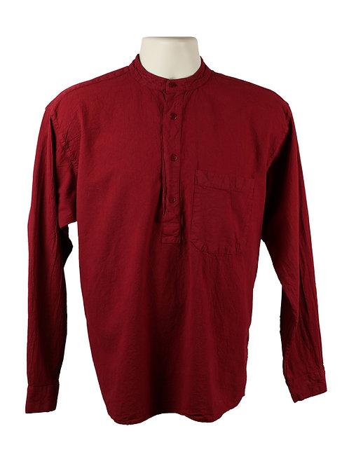 Wine Red Colarlless Grandad Shirt