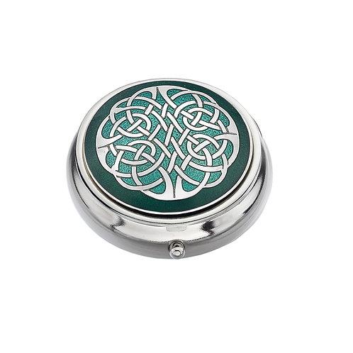 Celtic Knot Green Enamel Pillbox