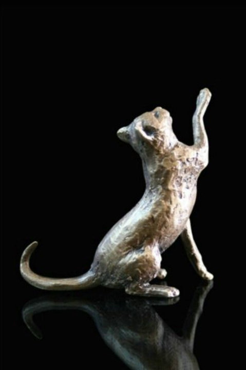 Cat Sitting Bronze Miniature