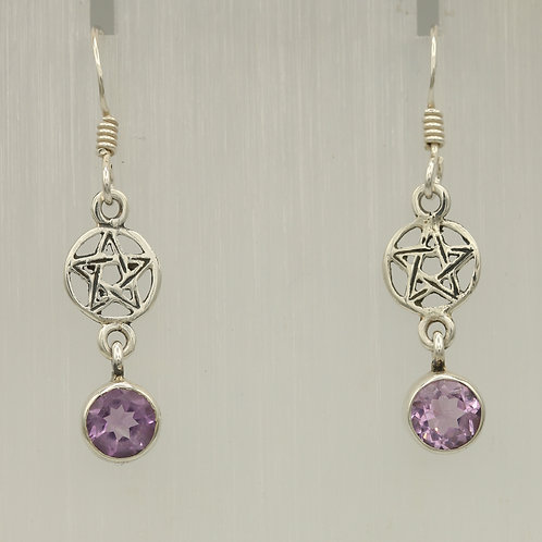 Amethyst Pentacle Earrings