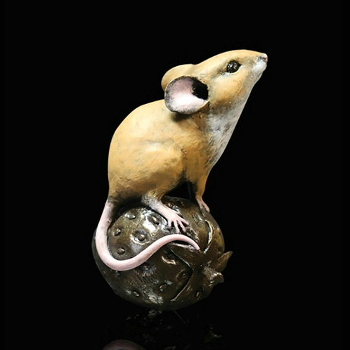 Mouse On Strawberry Bronze Figurine