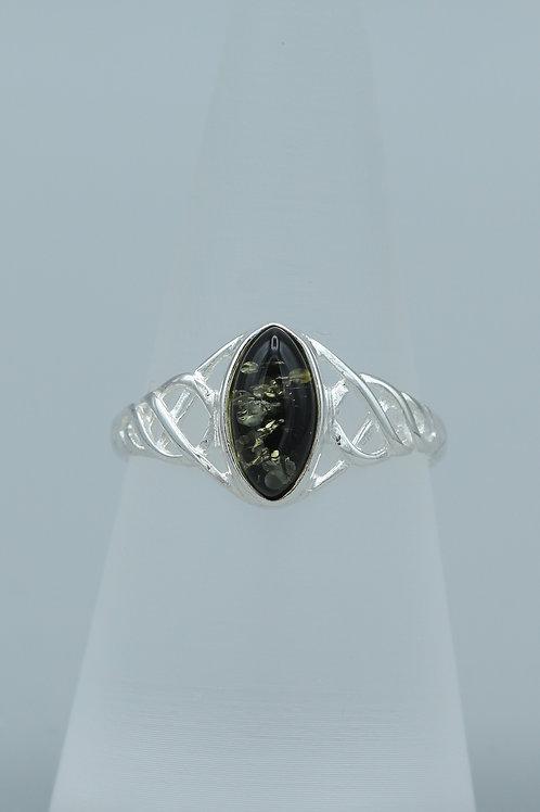 Green Amber Celtic Ring