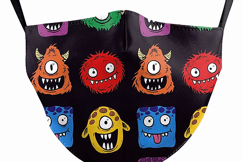 Alien Monsters Reusable Child's Face Covering with Filter Pouch