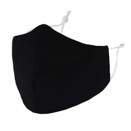 100% Cotton Plain Black Reusable Adult Face Covering with Filter Pouch