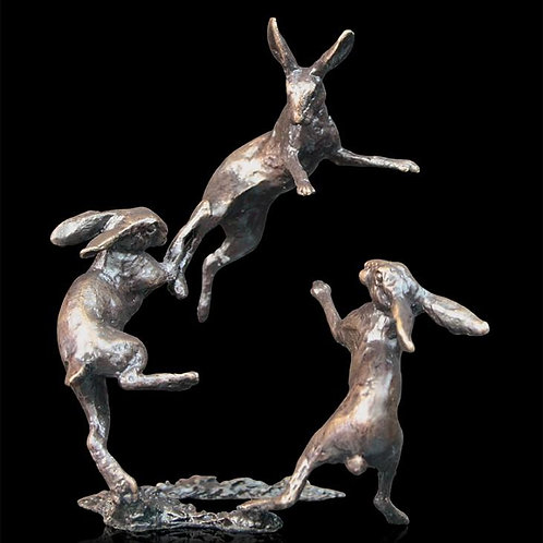 Hares Dancing Bronze Miniature Collection Centerpiece