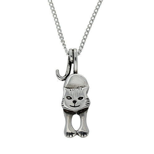 St Justin Pewter Kitty Cat Tail Pendant