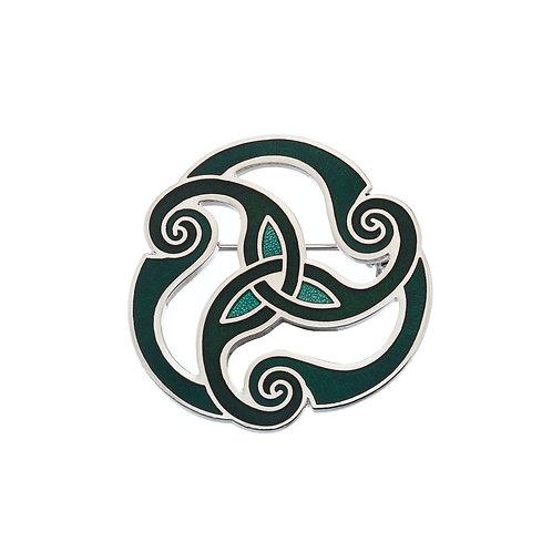 Green Enamel Celtic Spiral Brooch