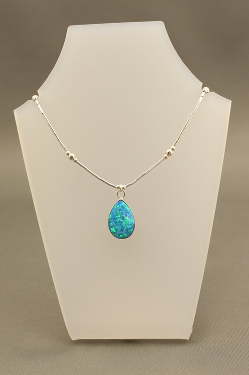Dark Blue Opal Liquid Silver Necklace