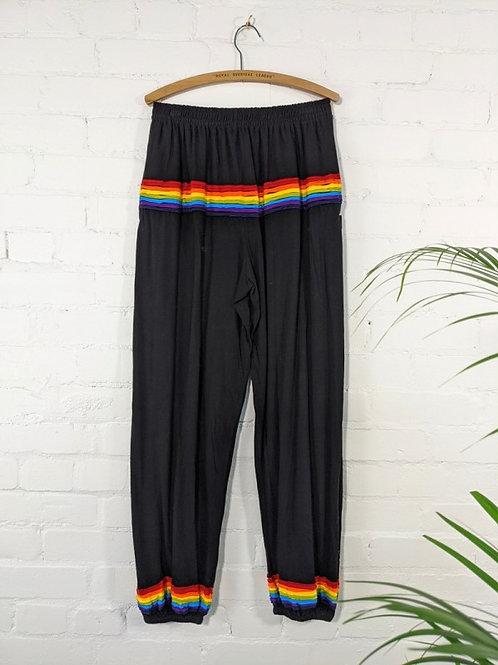 Black/Rainbow Harem Trousers - 100% Cotton