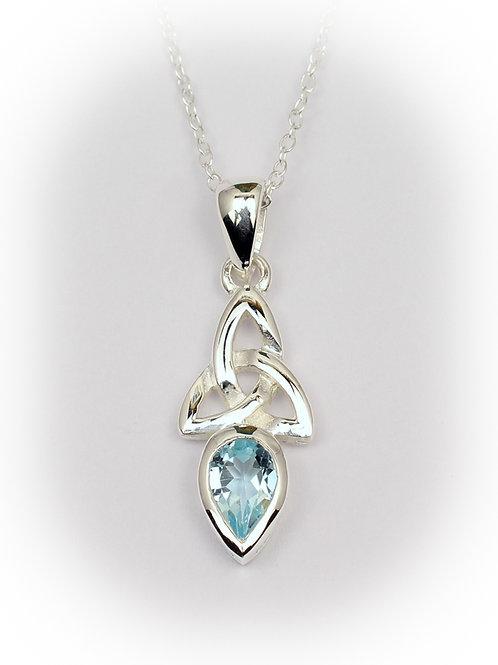 March - Aquamarine Celtic Pendant
