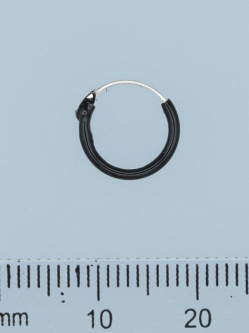Black Silver Hoops 1.2 mm