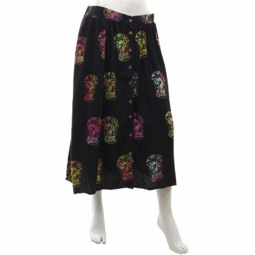 Black Candy Skull Button Skirt