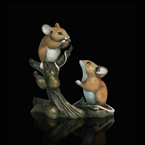 Mice with Rosehips Bronze Figurine
