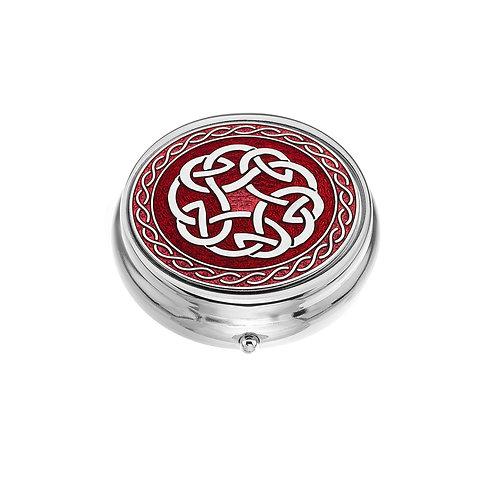 Large Celtic Spiral Knot Red Enamel Pillbox